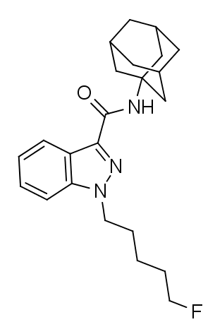 Skeletal Formula of 5F-APINACA (also known as 5F-AKB-48 or 5F-AKB48) is an indazole-based synthetic cannabinoid that has been sold online as a designer drug